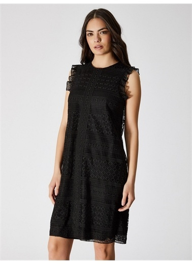 Vekem-Limited Edition Kolsuz Dantel Elbise Siyah